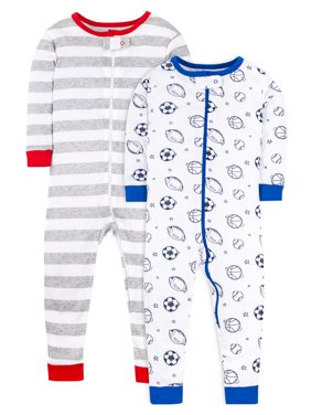 Little Star Organic Baby Boy & Toddler Boy 1-Piece Snug Fit Cotton Footless Pajamas, 2-Pack (9M-5T)