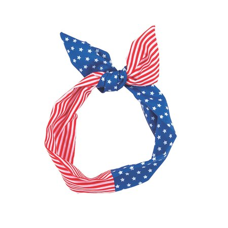 Fun Express - Patriotic Wired Headband for Fourth of July - Apparel Accessories - Hats - Head Boppers - Fourth of July - 6 Pieces - Head Boppers Wholesale