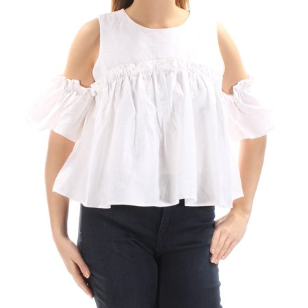 J.O.A. Womens Ivory Cut Out Short Sleeve Jewel Neck Baby Doll Top  Size: L (Baby Cut Out)