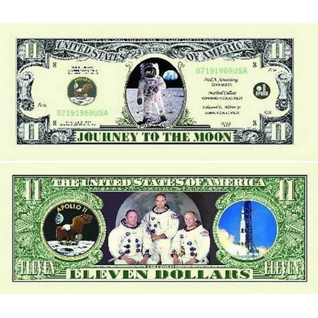 """Apollo 11 Dollar Bill with Bonus """"Thanks a Million"""" Gift Card Set and Clear Protector Dollar Bills Money Currency"""