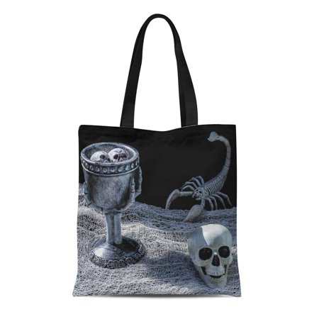 SIDONKU Canvas Bag Resuable Tote Grocery Shopping Bags Spooky Scorpion and Skull Table Two Curious Floating in Witch Potion Tote Bag](Floating Witch)
