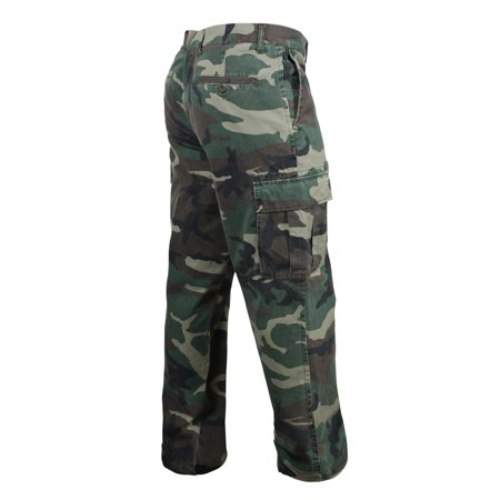 Camouflage Cargo Pants (Rothco Vintage 6-Pocket Flat Front Cargo Pants, Woodland Camo)