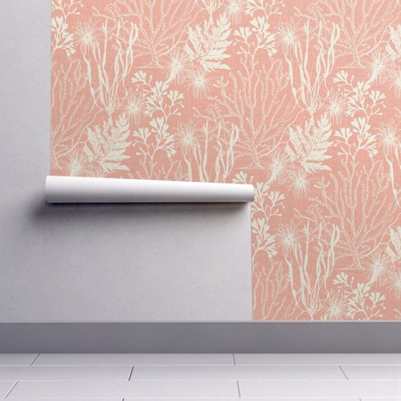 Peel-and-Stick Removable Wallpaper Seaweed Seaweed Coral Pink White Nautical