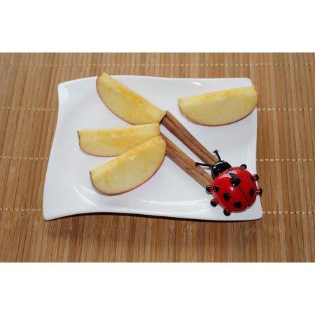 Peel-n-Stick Poster of Apple Slices Ladybug Plate Decoration Cinnamon Poster 24x16 Adhesive Sticker Poster Print (Ladybug Decorations)