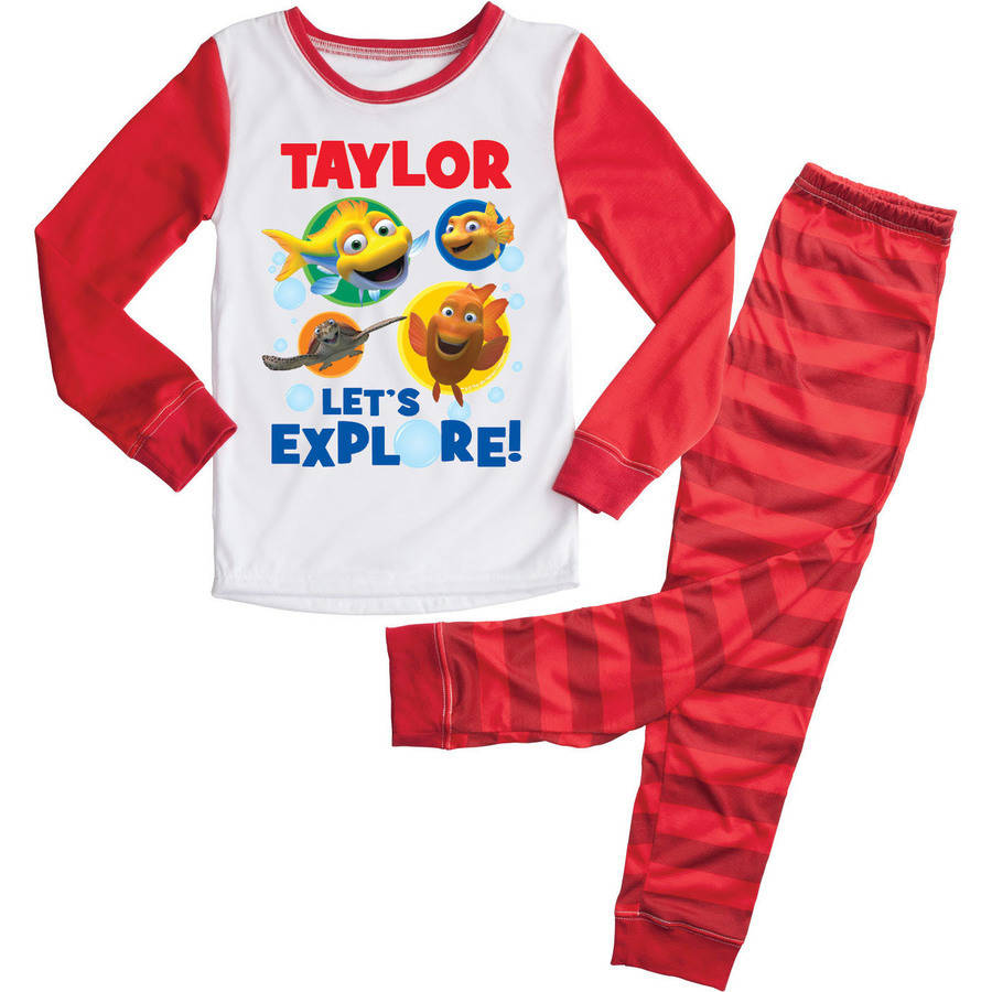 Personalized Splash and Bubbles Red Toddler Pajamas - 2T, 3T, 4T, 5/6T