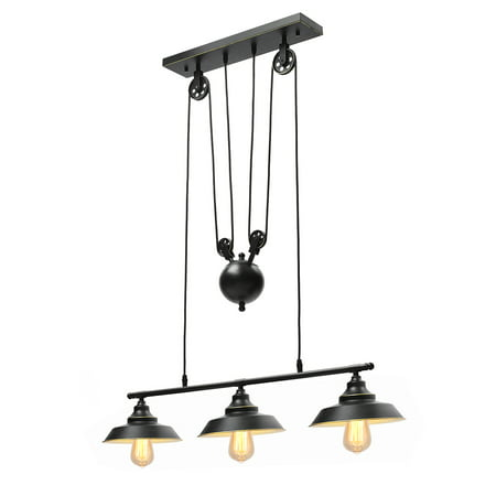 Three Light Pulley Pendant Light Kitchen Island Light Adjustable Industrial Rustic Chandelier Farmhouse Vintage Ceiling Lights Fixture for Kitchen Dining Room (Without Bulbs) Two Light Island Fixture