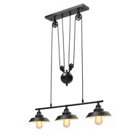 Three Light Pulley Pendant Light Kitchen Island Light Adjustable Industrial Rustic Chandelier Farmhouse Vintage Ceiling Lights Fixture for Kitchen Dining Room (Without Bulbs)