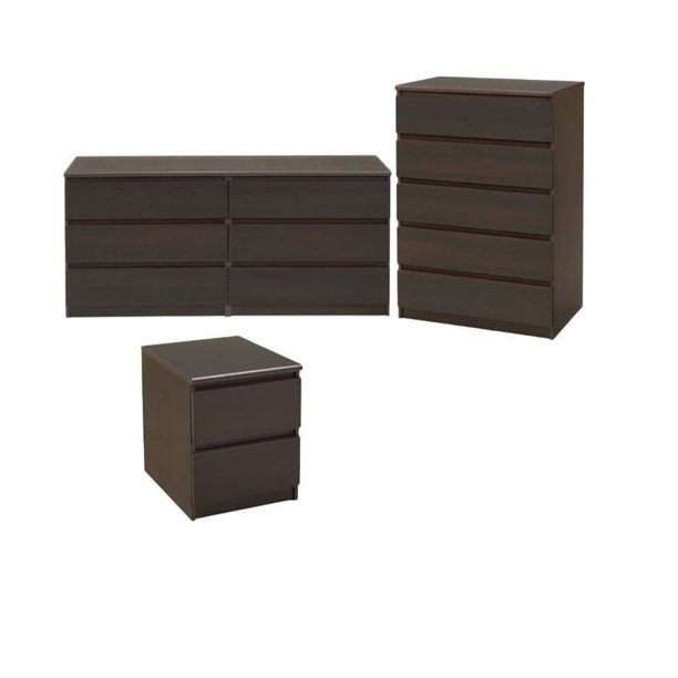 3 Piece Bedroom Set with 6 Drawer Double Dresser, 5 Drawer Chest and 2 Drawer Nightstand in Coffee