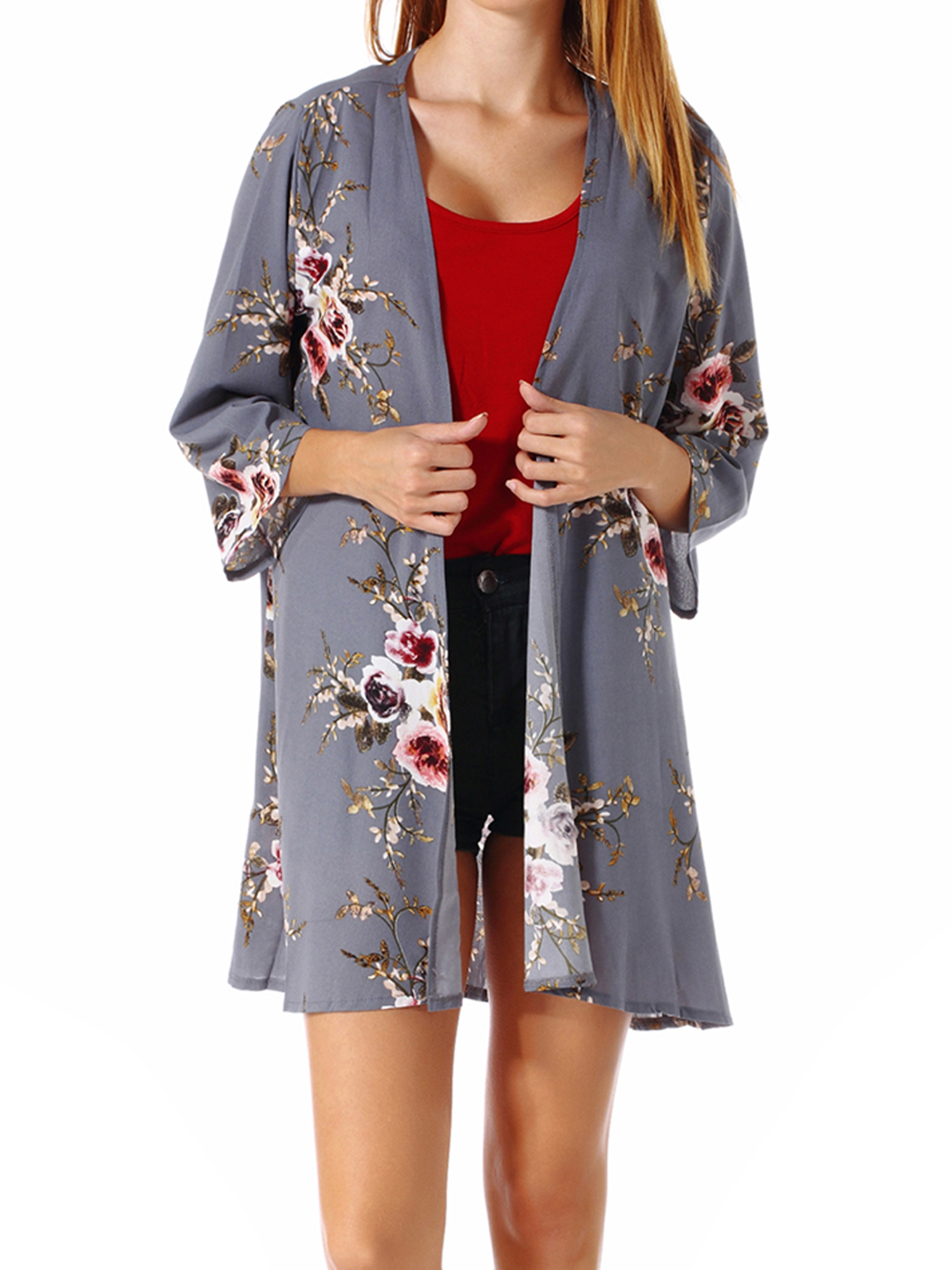 Lelinta Women's Floral Print Flared Sleeve Sheer Loose Kimono Cardigan Capes