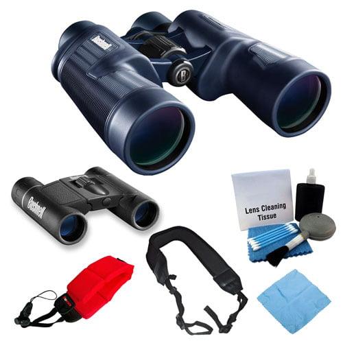 Bushnell H2O 8x42mm Porro Prism Binocular + Powerview 8x21 Folding Roof Prism Binocular + Accessory Bundle