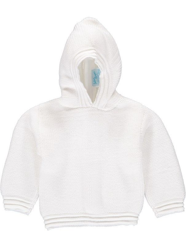 Julius Berger Baby Unisex White Stitch Detail Hooded Zip Back Sweater