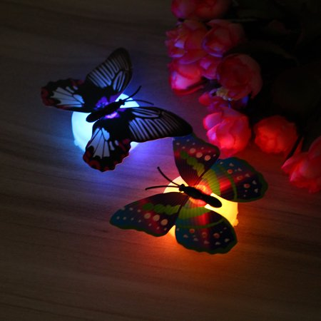 Fashion LED Glowing 3D Butterfly Night Light Sticker Art Design Mural Home Wall Decal  - image 9 of 12