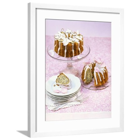 Poppy Seed Gugelhupf with Slivers of Coconut & Sugared Petals Framed Print Wall Art By Nikolai