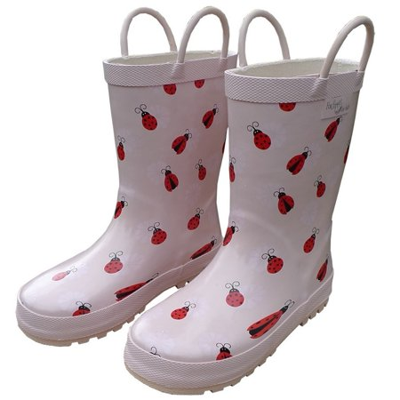 Pink Lady Bug Girls Rain Boots 11-3