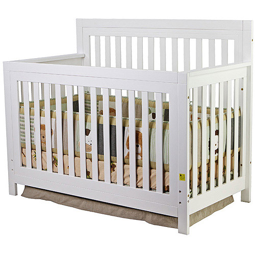 Mia Moda Jillian 4-in-1 Fixed-Side Kingston Convertible Crib, White
