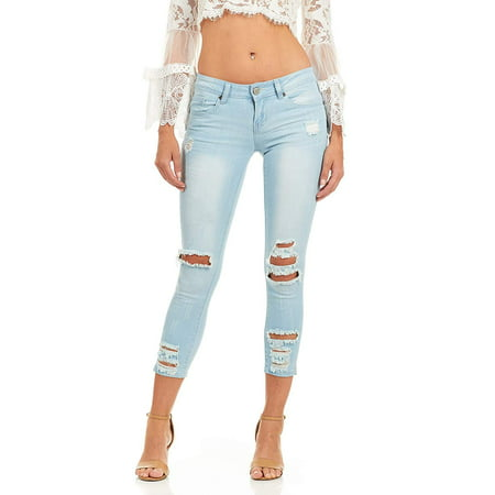 CG JEANS Plus Size Cute Juniors Big Mid Rise Large Ripped Torn Crop Skinny Fit, Sky Blue Denim