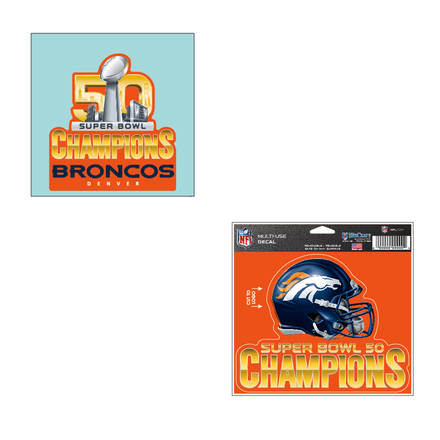 Denver Broncos NFL Super Bowl 50 Champions MultiUse Car Decal And Perfect Cut Bundle 2 Pack