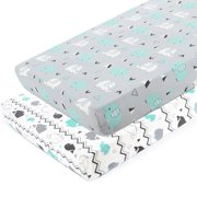 Pack n Play Stretchy Fitted Pack n Play Playard Sheet Set-Brolex 2 Pack Portable Mini Crib Sheets,Convertible Playard Mattress Cover,Ultra Soft MaterialElephant & Whale