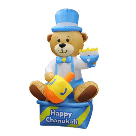 Plastic Dreidel - 8' Happy Hanukkah Bear with Dreidel and Menorah