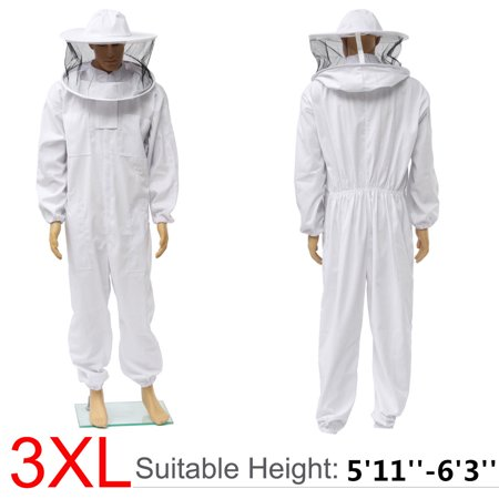 3XL Szie Professional Bee Suit Beekeeper Full Body Protection Beekeeping Jacket Smock with Removable Round Hat Veil - Hazmat Suits