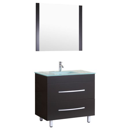 Style 4 - 36 in.W Black Vanity Sink Base Cabinet with Mirror (LV4-36B)
