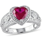 2-4/5 Carat T.G.W Created Ruby and 1/10 T.W. Diamond Sterling Silver Heart Engagement Ring