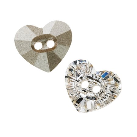 Swarovski Crystal Buttons (Swarovski Crystal, #3023 Heart Sew-On Stone Buttons 14x12mm, 1 Piece, Crystal F)