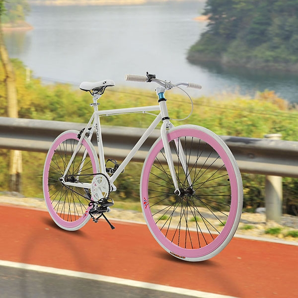 Pink 26inch Fixed Gear Single Speed Fixie Bike Road Bicyc...