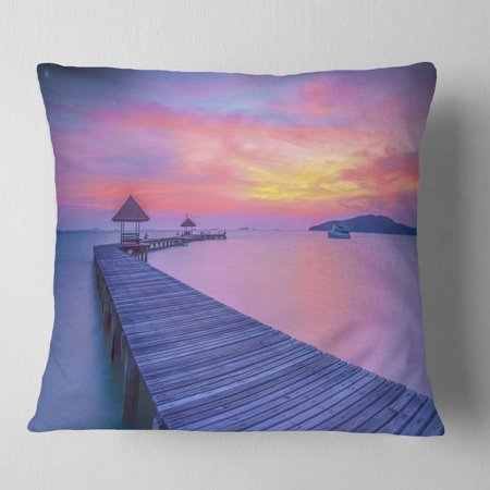 Purple Tinged Wood Bridge and Beach' Pier Seascape Throw Pillow ()
