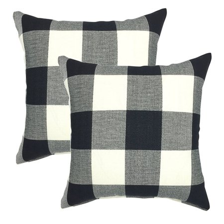 YOUR SMILE Buffalo Check 18 Inch Decorative Throw Pillow Cover (set of 2) ()