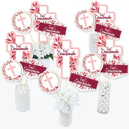 First Communion Pink Elegant Cross - Girl Religious Party Centerpiece Sticks - Table Toppers - Set of 15 ()