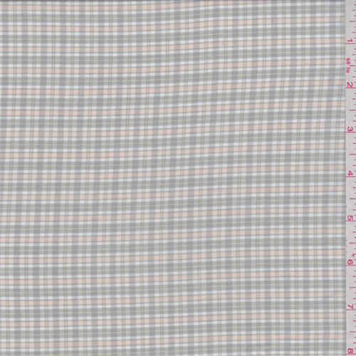 Taupe/Peach Plaid Shirting, Fabric By the Yard