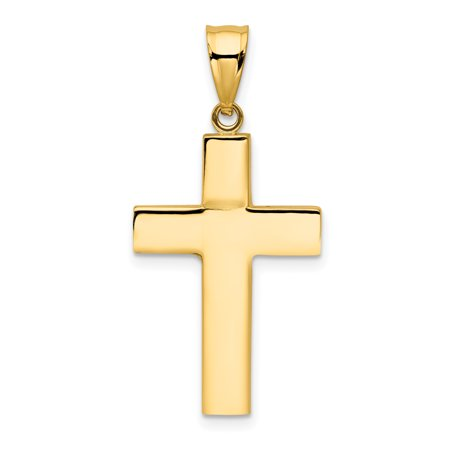 14kt Yellow Gold Cross Religious Pendant Charm Necklace Latin Fine Jewelry Ideal Gifts For Women Gift Set From Heart