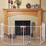Jaxpety Fireplace Fence Baby Safety Fence 6 Panel Hearth Gate Pet Gate Guard Metal Plastic Screen, White