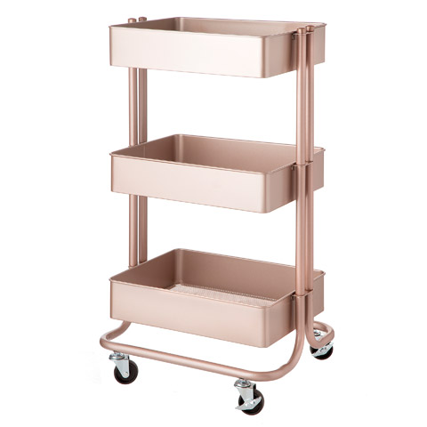 Darice 3-Tier Rose Gold Rolling Cart: 30 inches