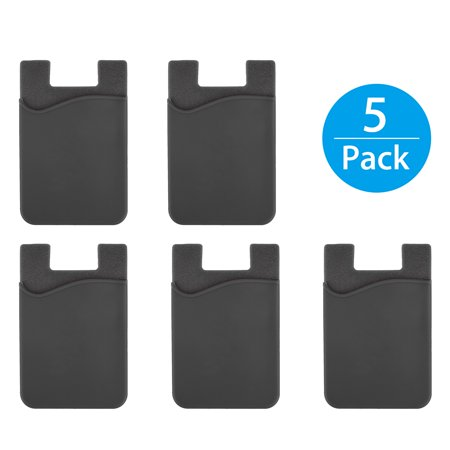 TSV 5Packs Adhesive Silicone Credit Card Pocket Money Pouch Holder Case For Cell Phone ()