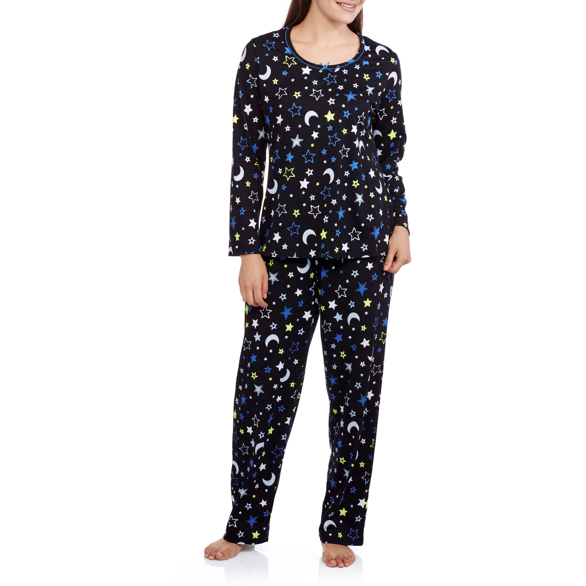 Secret Treasures Women's Long Sleeve Knit Pajama Top and Pant 2 Piece Sleepwear Set (Sizes S-3X)