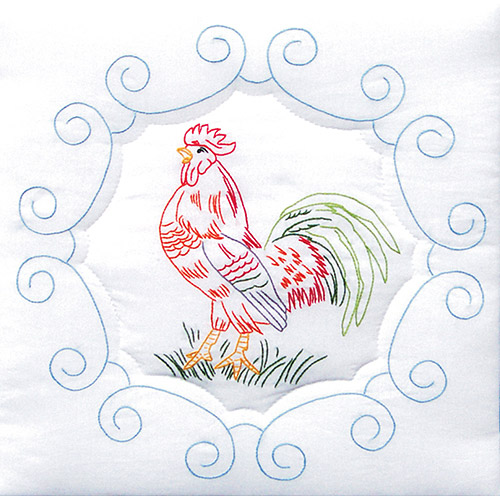 """Jack Dempsey Rooster Stamped White Quilt Blocks, 18"""" x 18"""""""