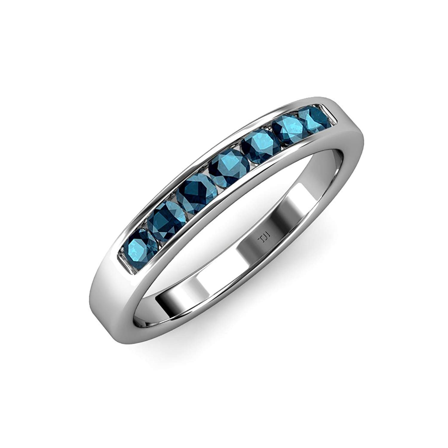 Blue and White Diamond 7 Stone Channel Set Wedding Band 0.70 ct tw 14K White Gold.size 4 by TriJewels