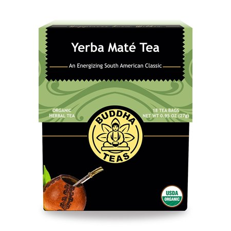 Organic Yerba Mate Tea - Energizing Tea - Contains Caffeine - 18 Bleach-Free Tea Bags, Has vitamins A, B1, B2, B3, B5, C, E, Calcium, Iron, Potassium, Selenium By Buddha (Energizing Tea)