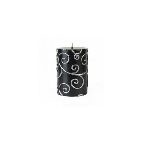 Zest Candle CPS-001 3 x 4 inch Black Scroll Pillar Candle - Pack of 3