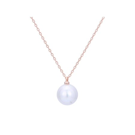 """Gorgeous 8mm Fashion Pearl Necklace On Rose Gold Colour Brass 12"""" Chain"""