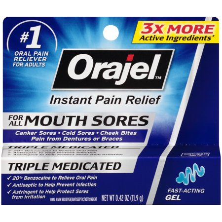 - Orajel™ Mouth Sores Gel Oral Pain Reliever/Antiseptic/Astringentor 0.42 oz. Carded Pack