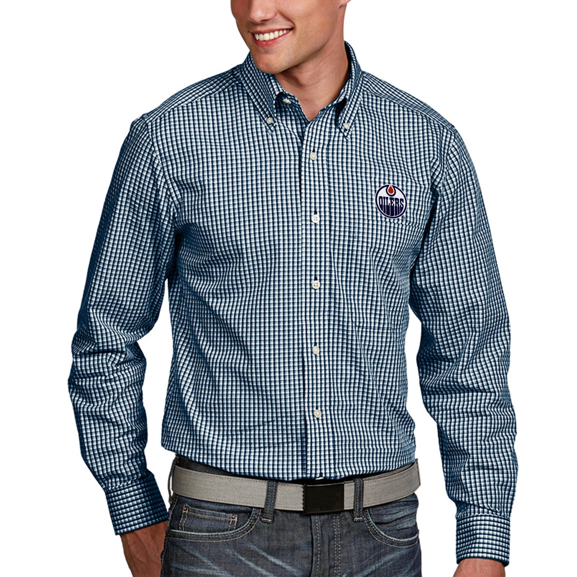 Edmonton Oilers Antigua Associate Big & Tall Woven Shirt - Navy