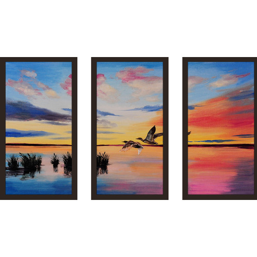 Picture Perfect International ''Two Birds'' 3 Piece Framed Painting Print Set
