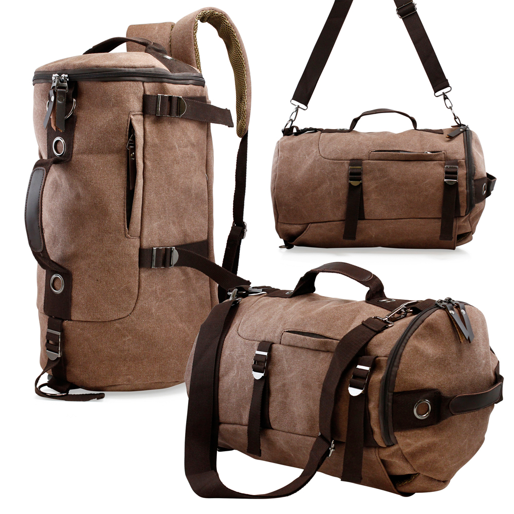 Men's Vintage Canvas Hiking Backpack Travel Duffel Camping Sport Rucksack Satchel School Messenger Bag