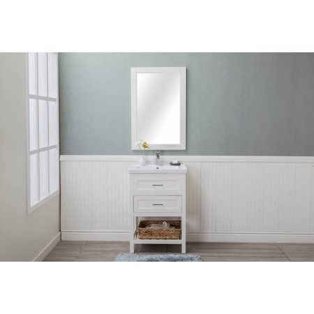 Cabinet Mania White Shaker 2 Drawer Bathroom Vanity w/ Marble Top 24
