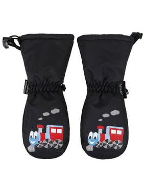 ANDORRA Kids Premium Weather-proof Thinsulate Ski Gloves, Train Print,S,Black/Train