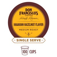 Don Francisco's Single Serve Coffee Pods, Hawaiian Hazelnut Flavor, Compatible with Keurig K-cup Brewers, 100 Count
