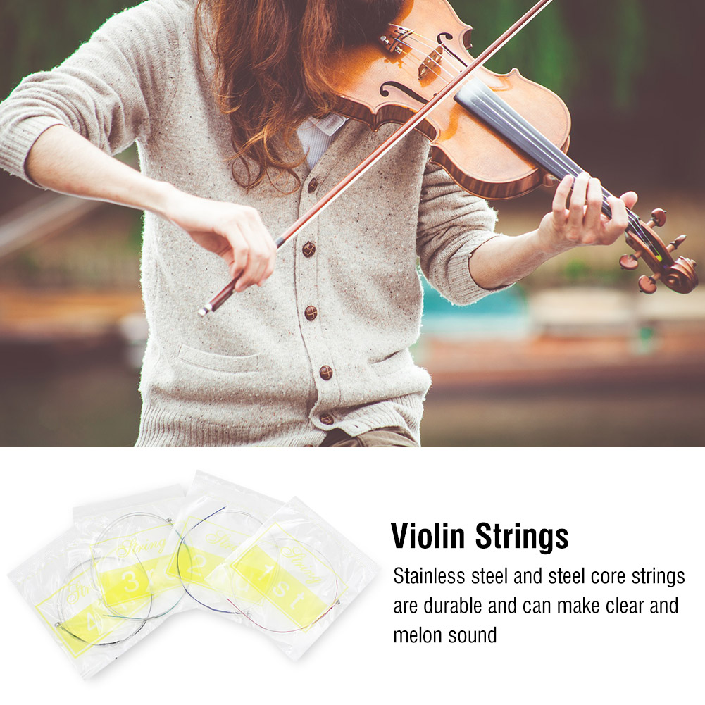 HAOFY 4 in 1 Violin Strings Rubber Mute Maple Wood Bridge Cleaning Cloth Accessories... by